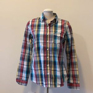 NEW Hollister plaid button-down top